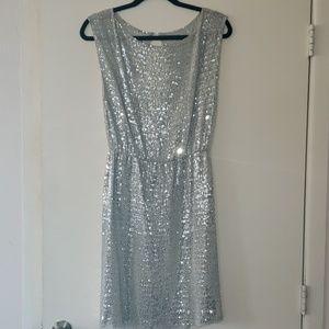 Alice + Olivia Silver Sequin shift Dress